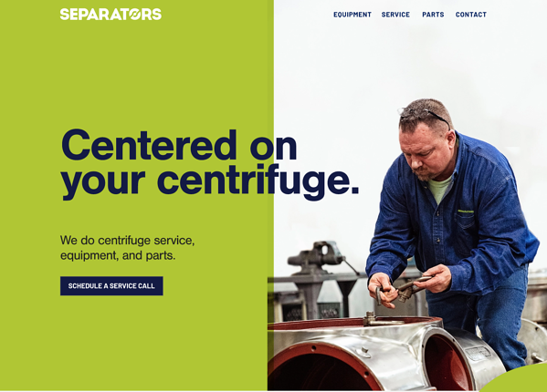 Separators' new homepage, centered on your centrifuge