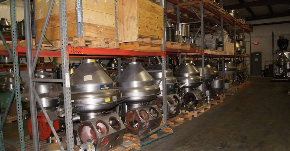 Image of centrifuges in a warehouse